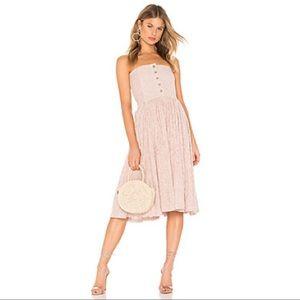 Free People Strapless Midi Cotton Pinstripe Dress